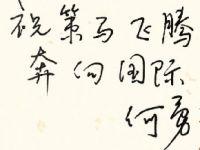 前联合国中文组组长何勇博士题词